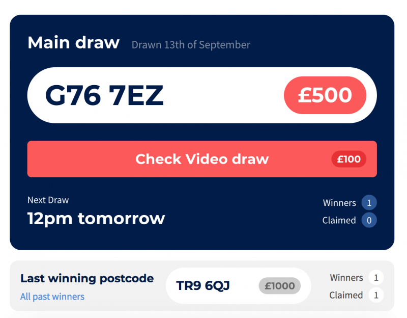 Free Post Code Lottery Draws - Pick My Postcode